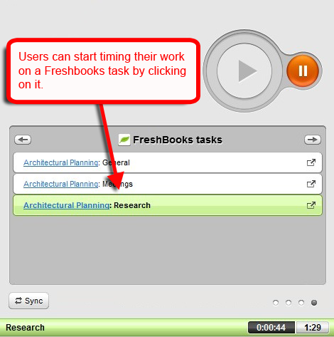 track time on freshbooks tasks