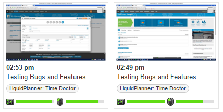 screenshots of work done on liquidplanner tasks