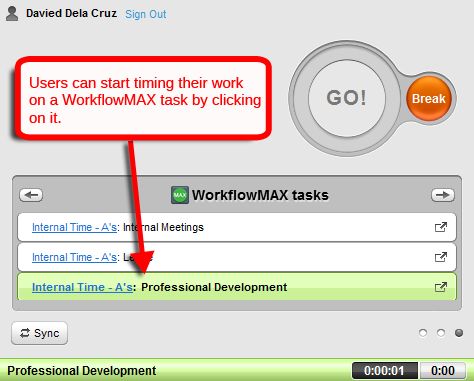 time tracking workflowmax tasks
