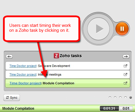 time tracking zoho tasks